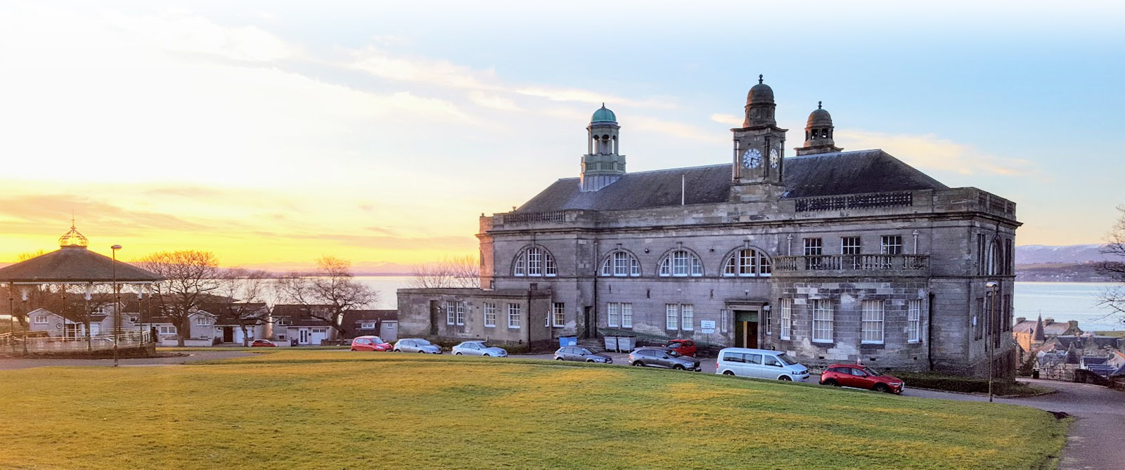 Sunset at Bo'ness Town Hall.